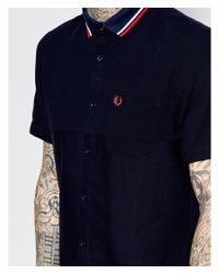Fred Perry - Blue Shirt With Mix Pique And Tipped Collar Short Sleeves In Slim Fit for Men - Lyst