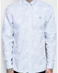 Stussy - Blue Shirt With Camo Jaquard In Slim Fit for Men - Lyst