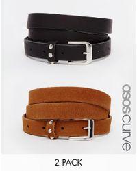 ASOS - Black Curve Leather 2 Pack Studded Keeper Belts - Lyst