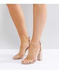 f8078a45ff Truffle Collection Wide Fit Clear Block Heeled Sandal in Natural - Lyst