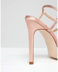 ASOS - Natural Houston Embellished Heeled Sandals - Lyst