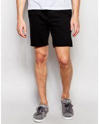 Blend - Slim Sweat Shorts Drawstring Raw Edge In Black for Men - Lyst