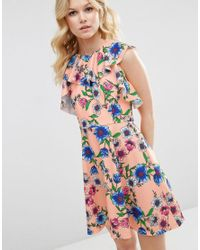ASOS - Pink Ruffle Neck Skater Dress In Pretty Floral Print - Lyst
