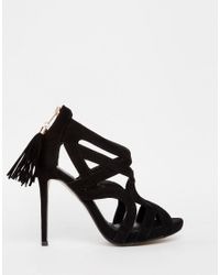 Missguided - Black Caged Tassel Detail Heeled Sandal - Lyst