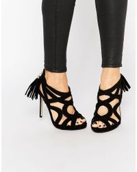 Missguided | Black Caged Tassel Detail Heeled Sandal | Lyst