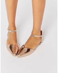 Dune - Metallic By Dune Hyrah Rose Gold Flat Shoes - Lyst