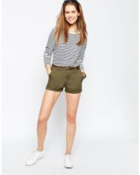 ASOS - Brown Belted Chino Shorts - Lyst