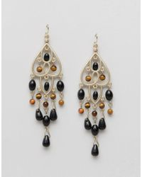 Ashiana - Metallic Chandelier Drop Earrings - Gold/black - Lyst