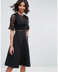 ASOS - Black Premium Lace Insert Midi Dress - Lyst