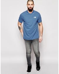 The North Face - Blue Polo Shirt With Logo for Men - Lyst