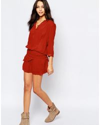 Ba&sh - Red Cassi Ruched Mini Dress In Brique - Lyst