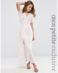 ASOS | White Pink Check And Lace Detail Maxi Dress | Lyst