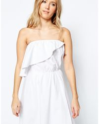 ASOS - White Frill Bandeau Midi Sundress In Clean Cotton - Lyst
