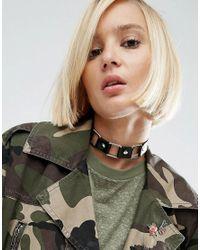 ASOS | Black Metal Square Choker Necklace | Lyst