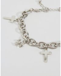 ASOS - Metallic Cross Charm Bracelet - Lyst