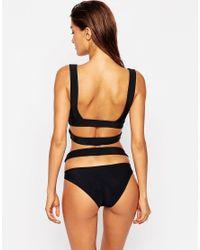ASOS - Neoprene Cut Out Caged Bikini Bottom - Black - Lyst