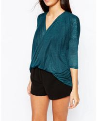 AX Paris - Green Cross Wrap Front Knit Top - Lyst