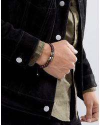 ASOS - Bead Bracelet With Skull Design In Brown for Men - Lyst