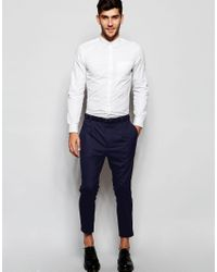 ASOS - Blue Smart Cropped Tapered Leg Trousers In Navy for Men - Lyst