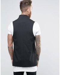 ASOS - Longline Waistcoat In Black for Men - Lyst