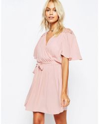 ASOS | Pink Wrap Front Dress With Lace Detail | Lyst