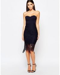 Lipsy - Black 2 In 1 Bra Cup Dress With Scallop Lace Skirt - Lyst