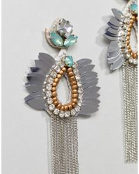 ASOS - Metallic Design Beaded Jewel And Chain Tassel Earrings - Lyst