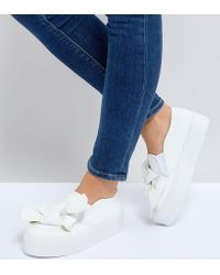 ASOS - White Discovery Wide Fit Bow Flatform Sneakers - Lyst