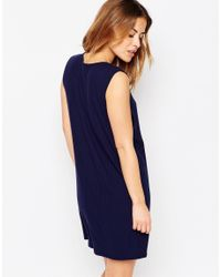 ASOS - Black Rib Dress With Dropped Armhole And Crew Neck - Navy - Lyst