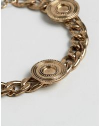 ASOS - Metallic Coin Bracelet In Gold for Men - Lyst