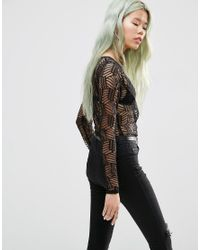 Just Female - Black Audrey Lace Body - Lyst