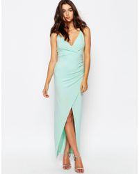 ASOS - Blue Wrap Ruched Skinny Strap Maxi Dress - Lyst