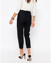 ASOS - Blue Linen Tapered Trouser - Lyst
