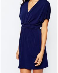 ASOS - Blue Wrap Dress In Crepe - Lyst