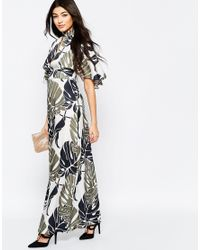 Liquorish - Green Kimono Sleeve Maxi Dress In Oversize Leaf Print - Lyst