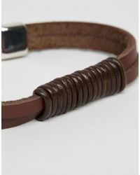 ASOS - Brown Faux Leather Bracelet With Black Rope for Men - Lyst