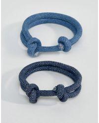 ASOS - Blue Rope Bracelet Pack In Denim - Lyst