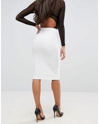 ASOS - White Pencil Skirt With Zip In Rib - Lyst