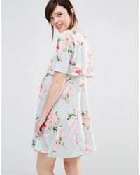 Bluebelle Maternity - Multicolor Nursing Floral Print Double Layer Swing Dress - Lyst