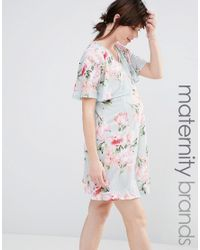 Bluebelle Maternity | Multicolor Nursing Floral Print Double Layer Swing Dress | Lyst