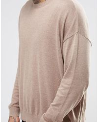 ASOS - Natural Oversized Jumper In Beige Cotton for Men - Lyst
