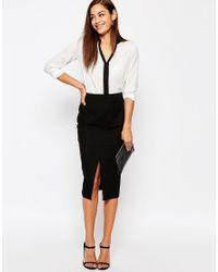 ASOS | Black Linen Pencil Skirt With Pocket Detail | Lyst
