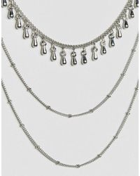 ASOS - Metallic Multi Row Bunting Necklace - Lyst