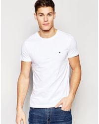 Tommy Hilfiger | T-shirt With Flag Logo In Stretch Slim Fit In White for Men | Lyst
