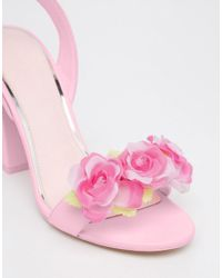 ASOS - Pink Humour Heeled Sandals - Lyst