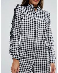 Missguided - Multicolor Gingham Ruffle Sleeve Dress - Lyst