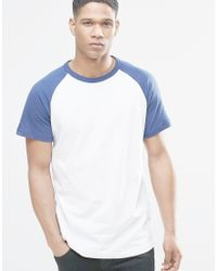 Pull bear t shirt with raglan sleeve in blue in white for for Bear river workwear shirts