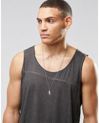 Mister - Metallic Feather Necklace In Silver for Men - Lyst