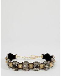 ASOS | Black Pyramid Spike Choker Necklace | Lyst