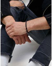Mister - Cross Beaded Bracelet In Black for Men - Lyst